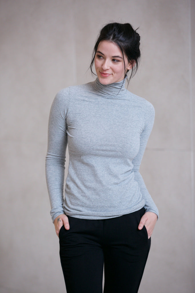 Hard Tail Long Skinny Turtleneck Classic Heather