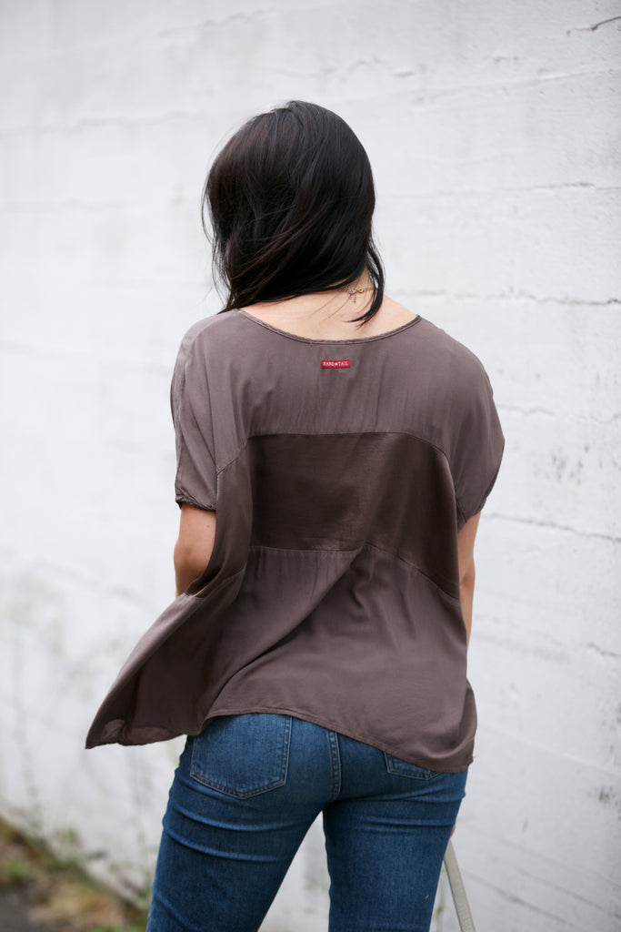 Hard Tail Satin Inset Slouchy Tee - Spring/Summer