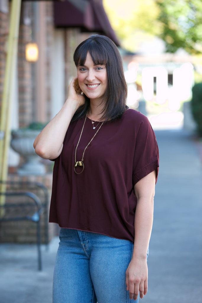 Hard Tail Scoop Boxy Tee Bordeaux