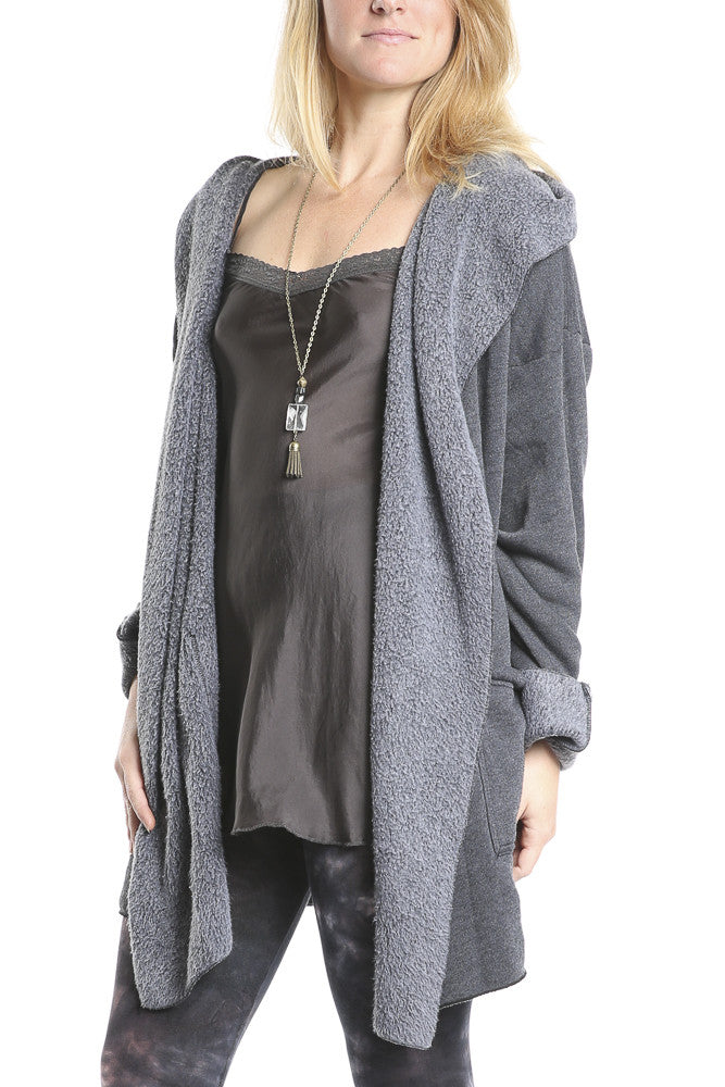 Hard Tail Slouchy Wrap Jacket in Black