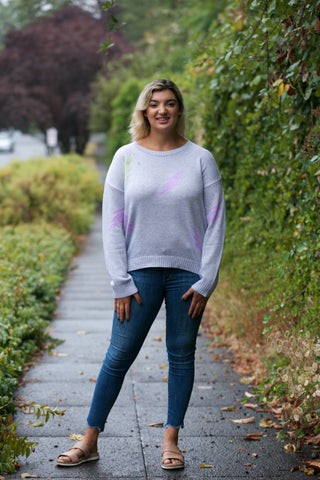 HOLIDAY V-Neck Drop Shoulder Chenille Sweater