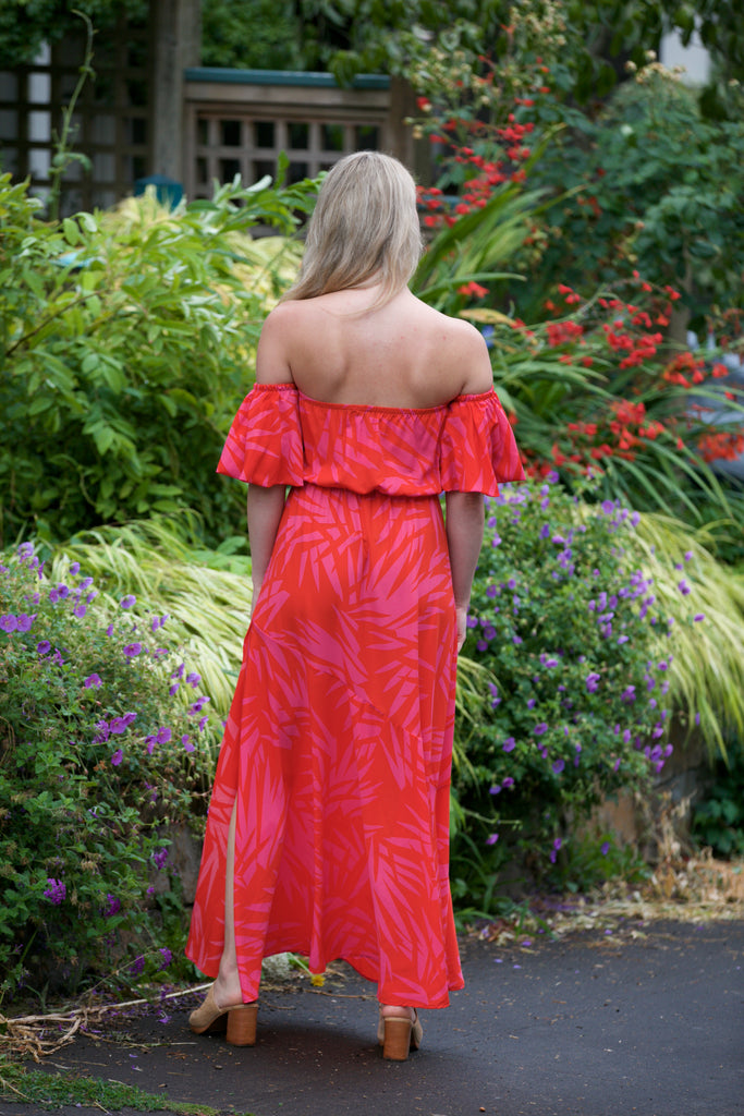 HOLIDAY Off Shoulder Bubble Sleeve Maxi Dress