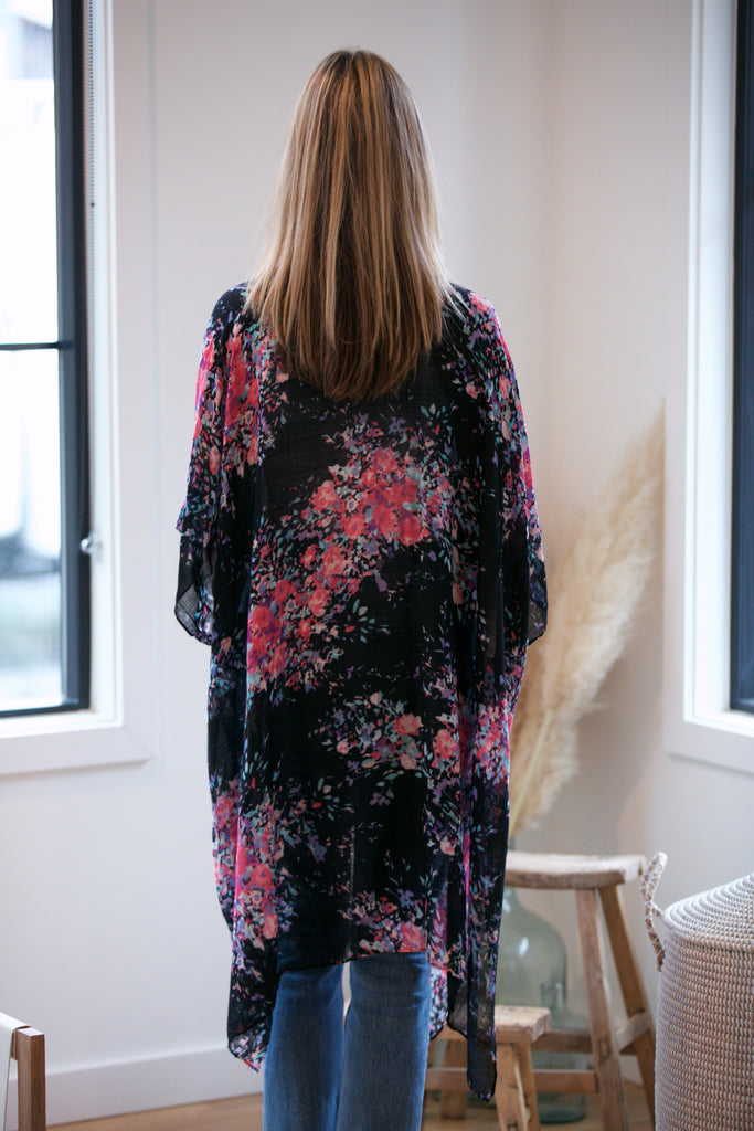 HOLIDAY Waterspot Floral Print Open Front Kaftan