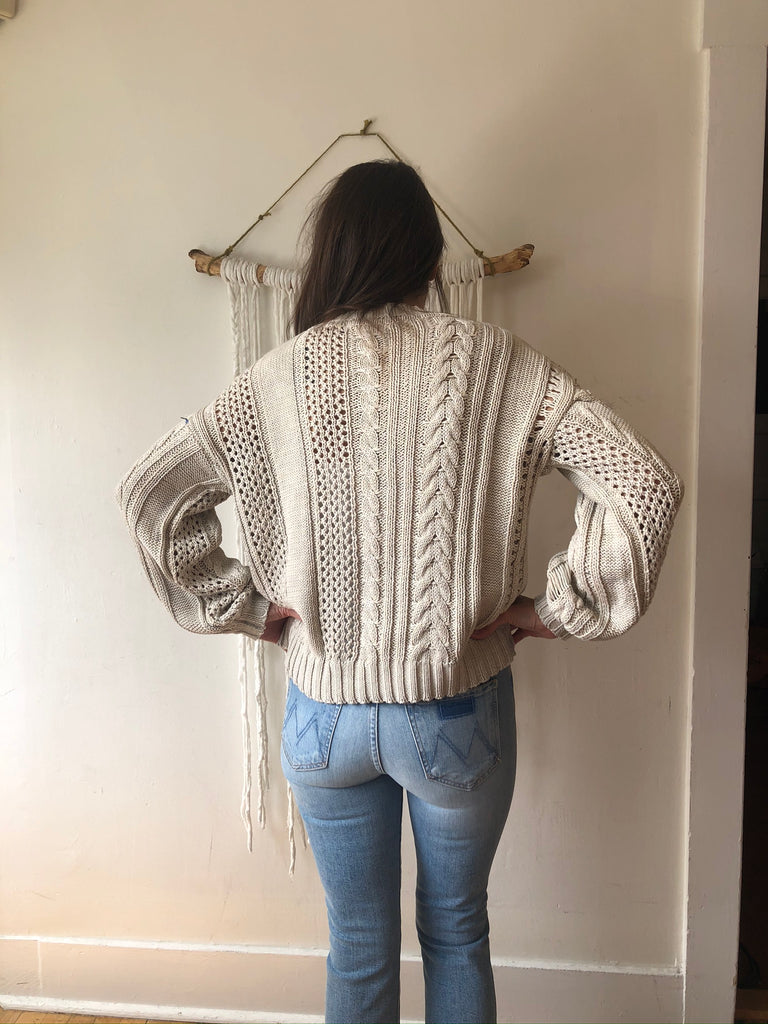 HOLIDAY Cable Knit Distressed Sweater