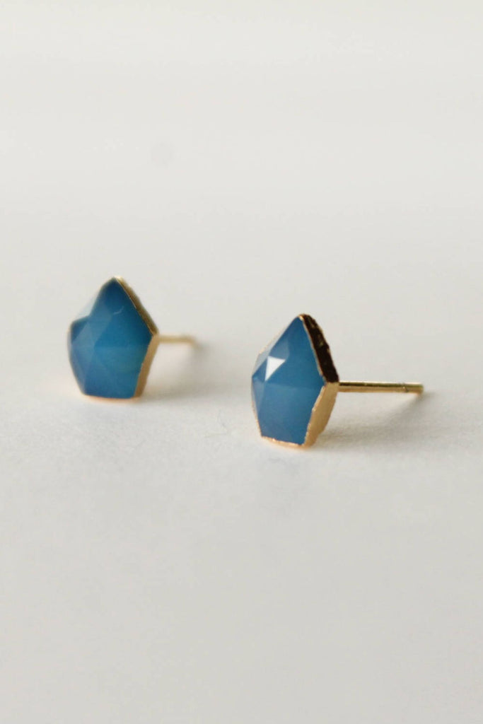 Leslie Francesca Gemstone Studs  Blue Chalcedony Shield