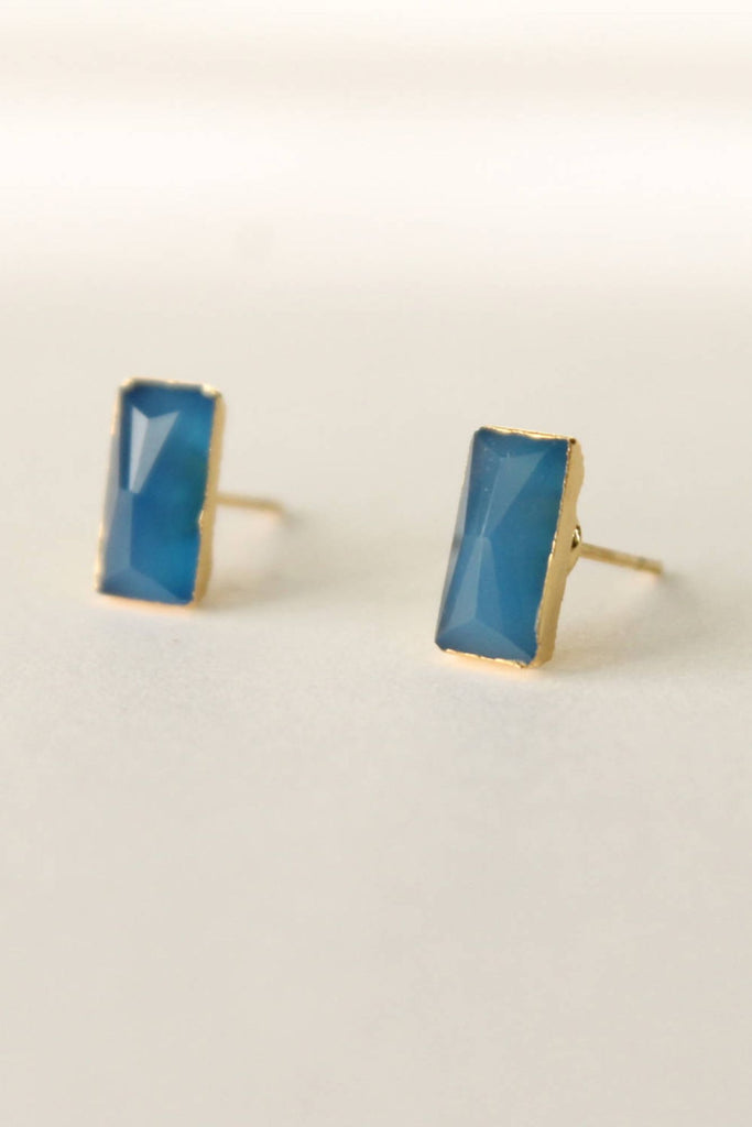 Leslie Francesca Gemstone Studs  Blue Chalcedony Rectangle