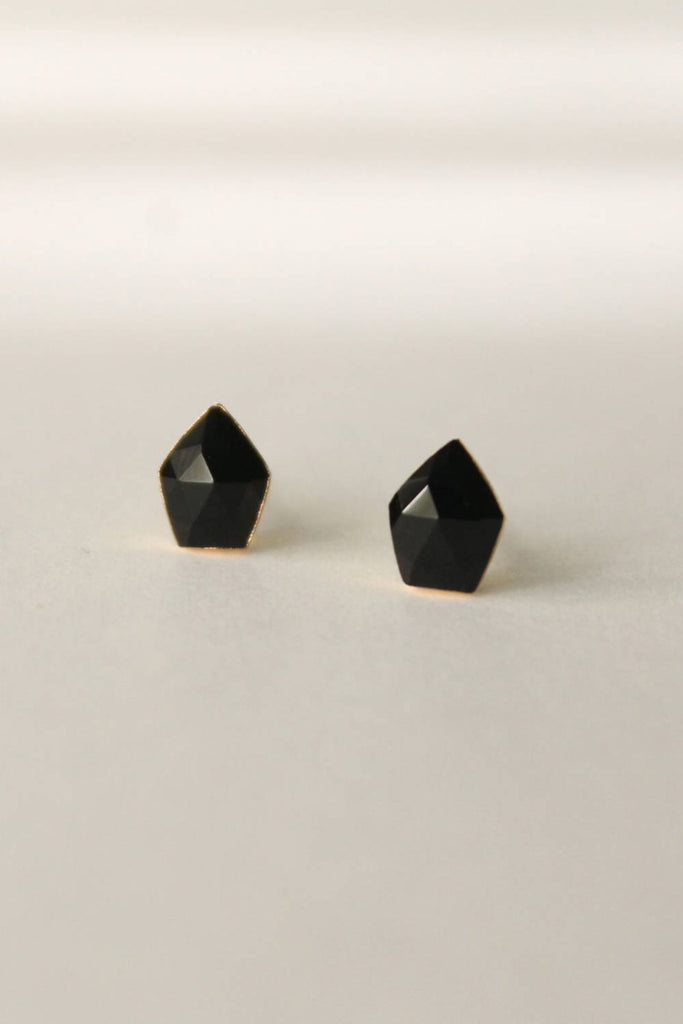 Leslie Francesca Gemstone Studs Black Chalcedony Shield