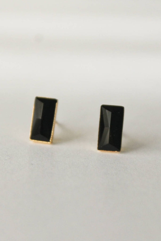 Leslie Francesca Gemstone Studs  Black Chalcedony Rectangle