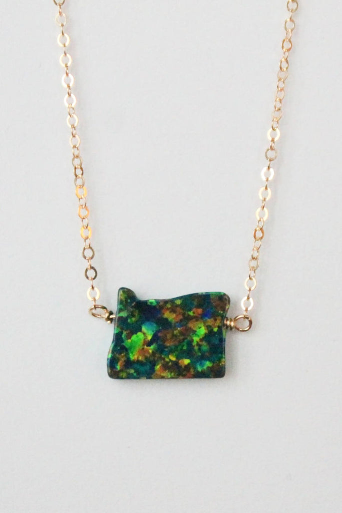 Leslie Francesca Opal State Necklace Green