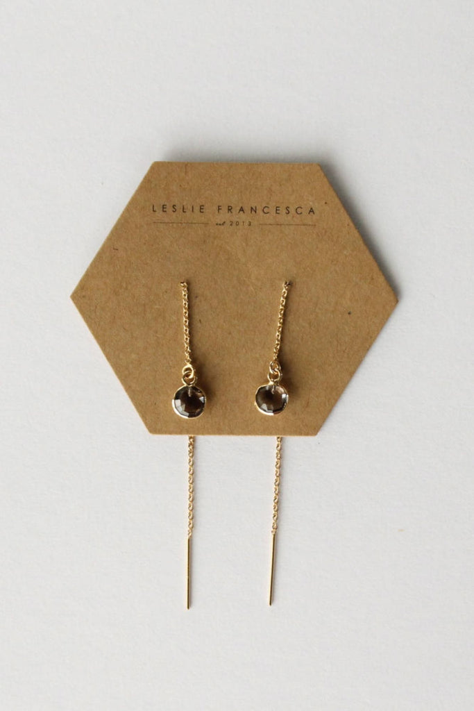 Leslie Francesca Gemstone Ear Threader Smoky Quartz