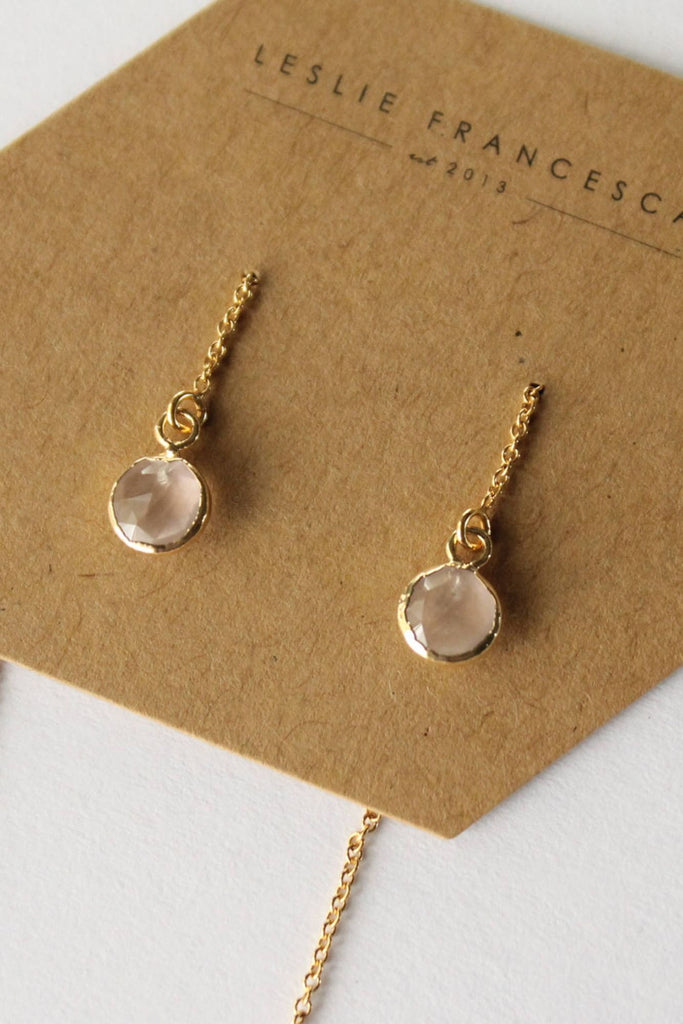 Leslie Francesca Gemstone Ear Threader Rose Quartz