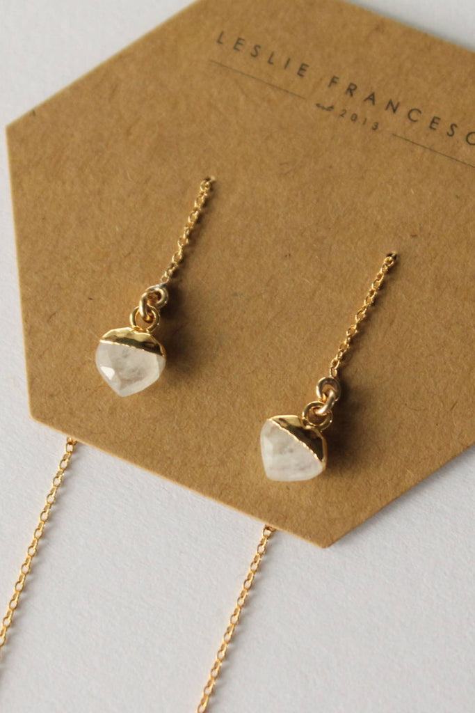 Leslie Francesca Gemstone Ear Threader Moonstone Heart