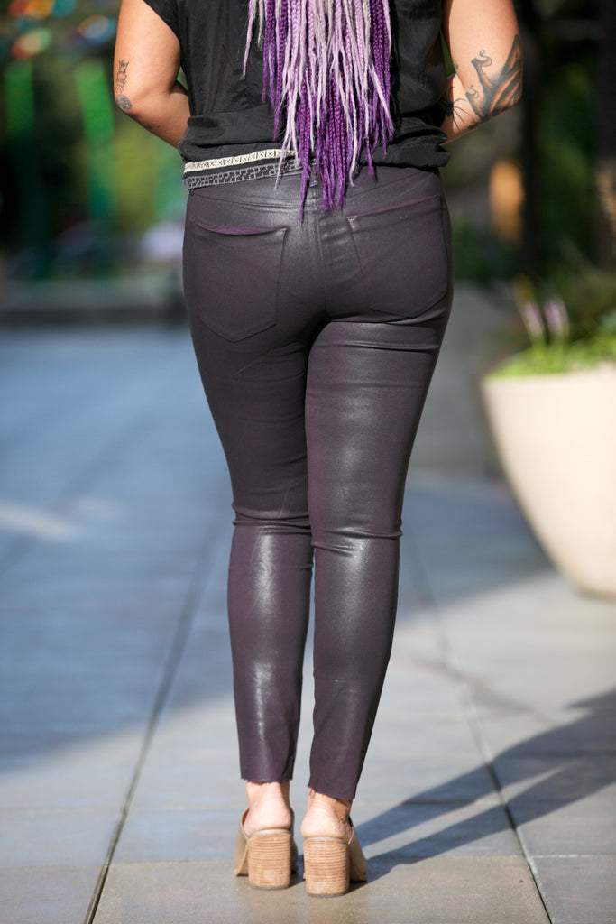JOE'S JEANS The Charlie Coated High Rise Skinny Ankle in Aubergine