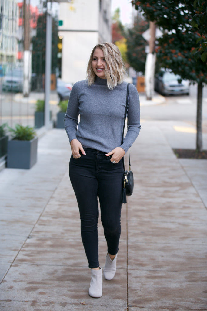 JOLIE Mockneck Ribbed Sweater Charcoal