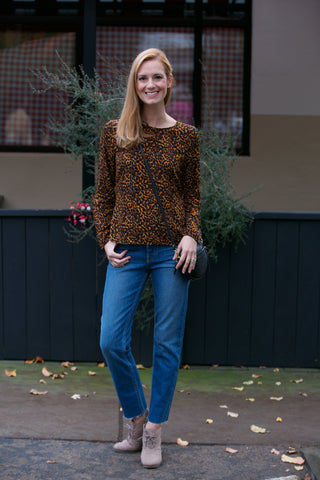Stateside Leopard Button Down Blouse
