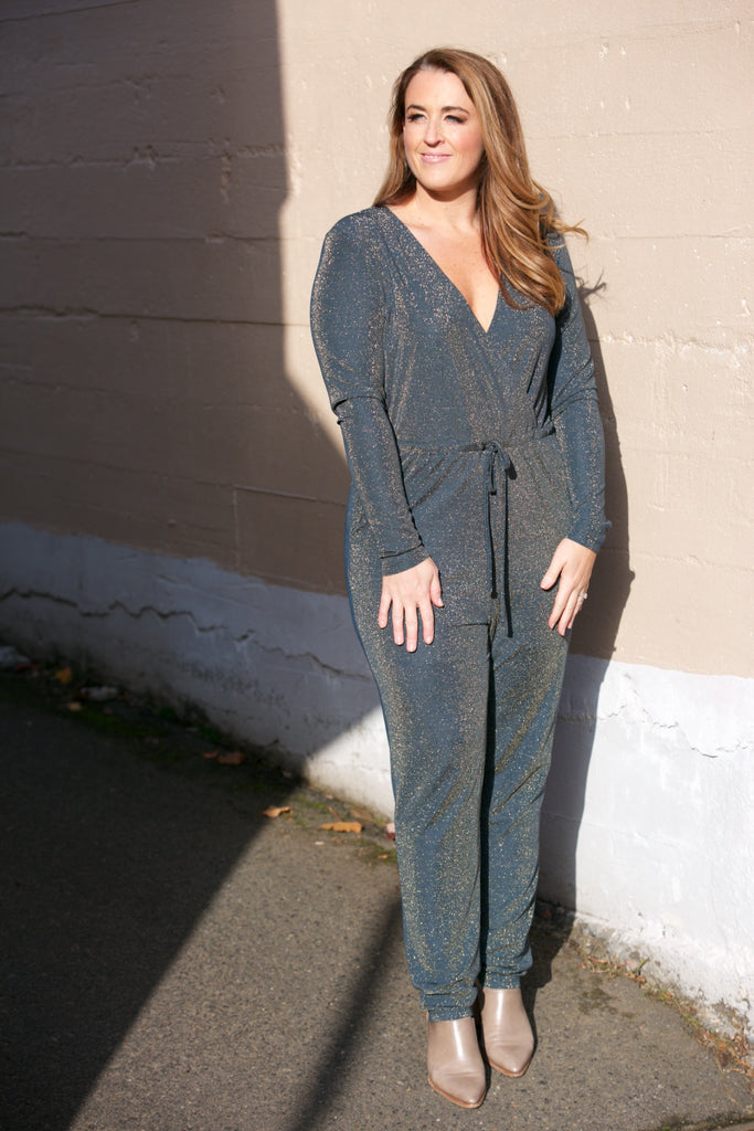 Just Female Molly Jumpsuit in Gold Lurex