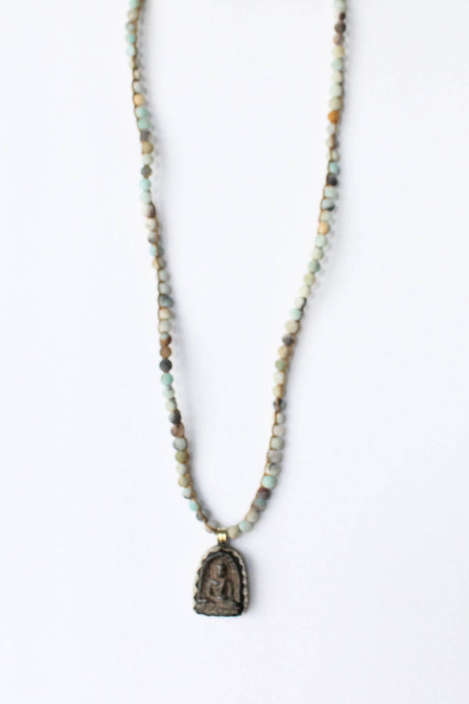 zoWEE Jewels Knotted Gemstone Necklace w/Pendant Amazonite