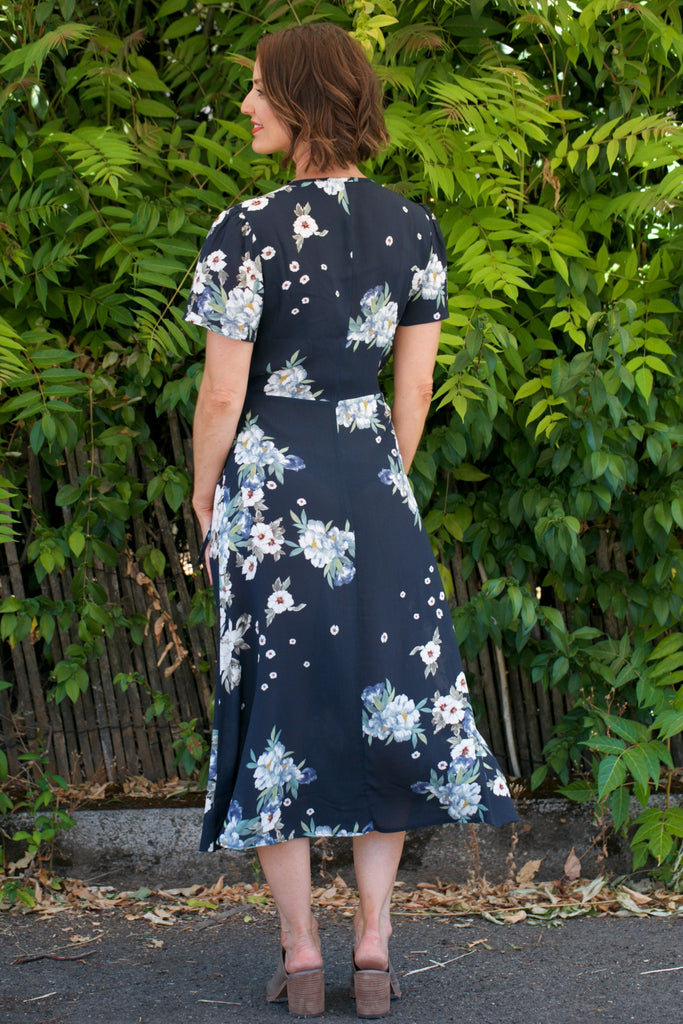LACAUSA Tallulah Dress in Midnight Floral