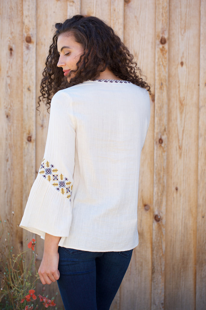 Lilla P Lace Front Blouse in Stone
