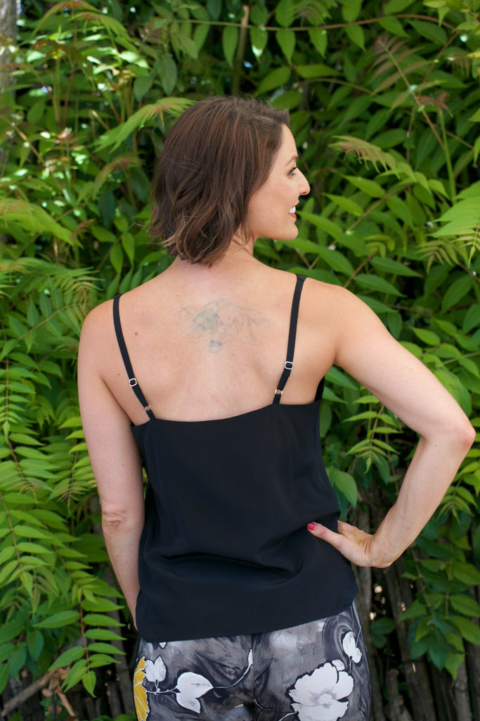 LAVENDER BROWN Silk Cami in Black