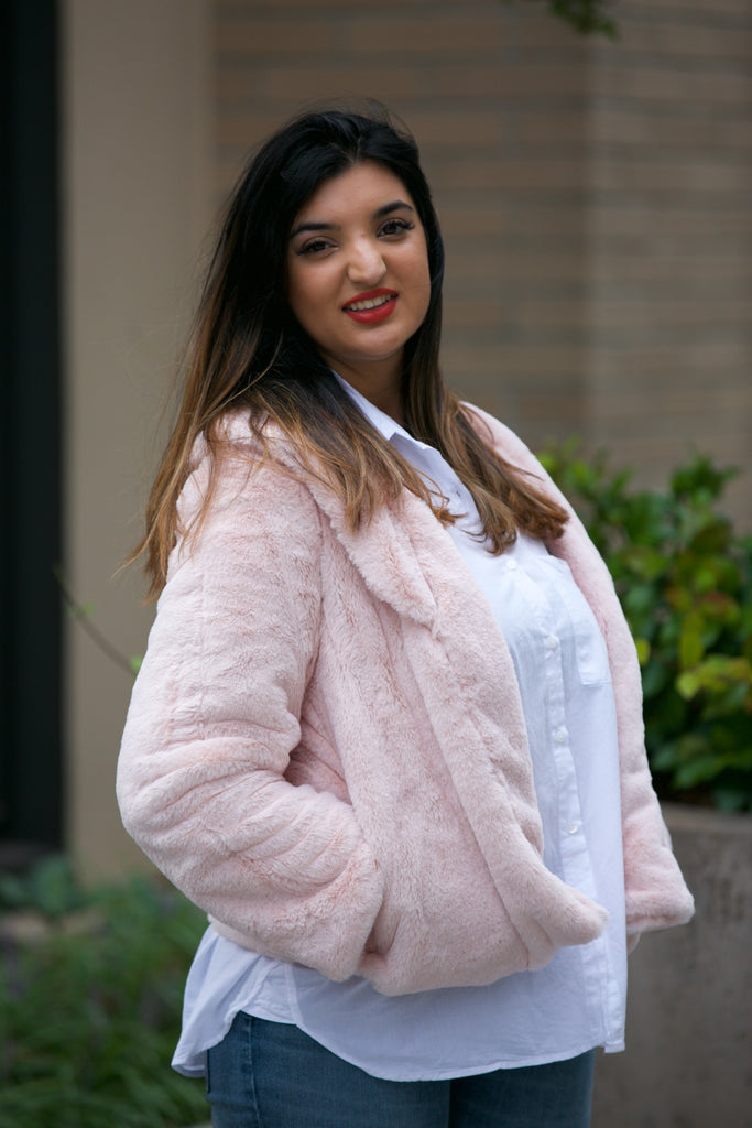 LAVENDER BROWN Faux Fur Collar Jacket