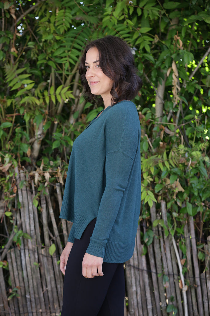 Lilla P Dropped Shoulder Split Neck Sweater