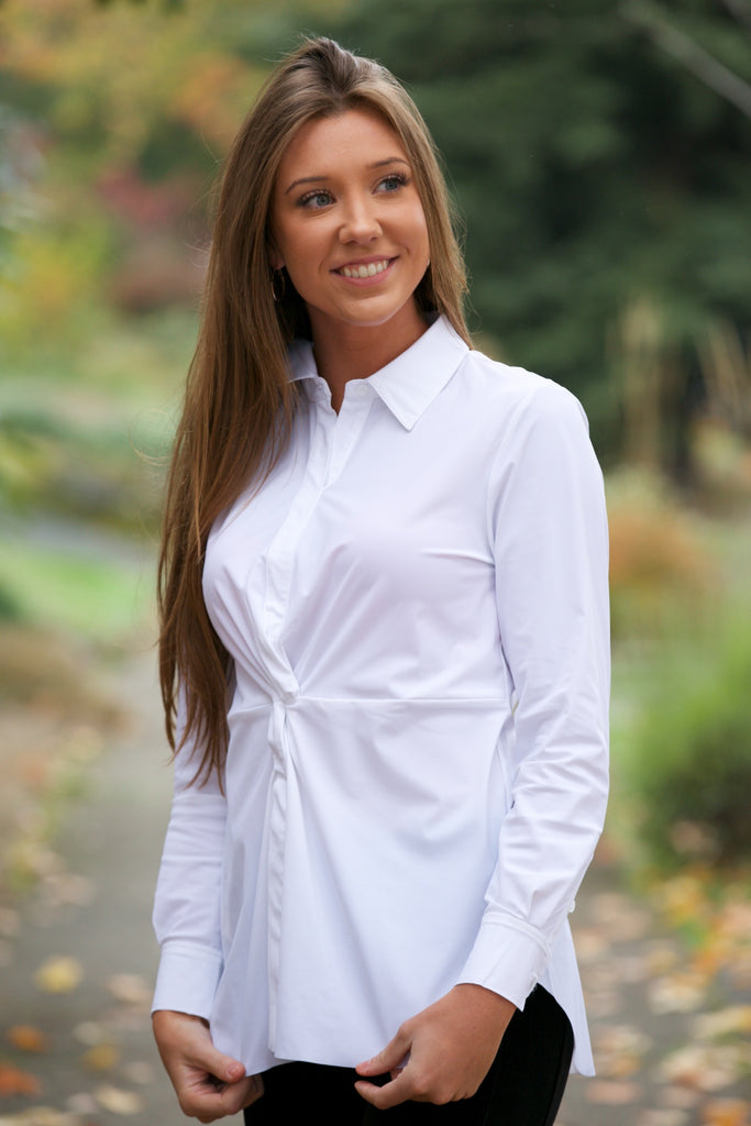 Lysse Twist Front Button Down Top White