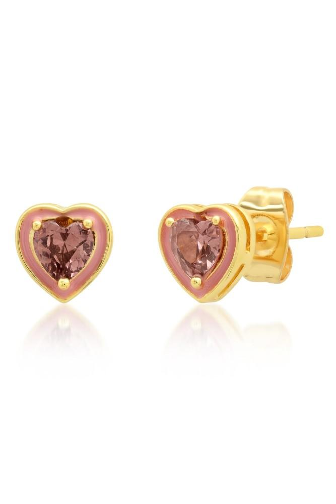 TAI Heart Shaped CZ & Enamel Stud Earrings