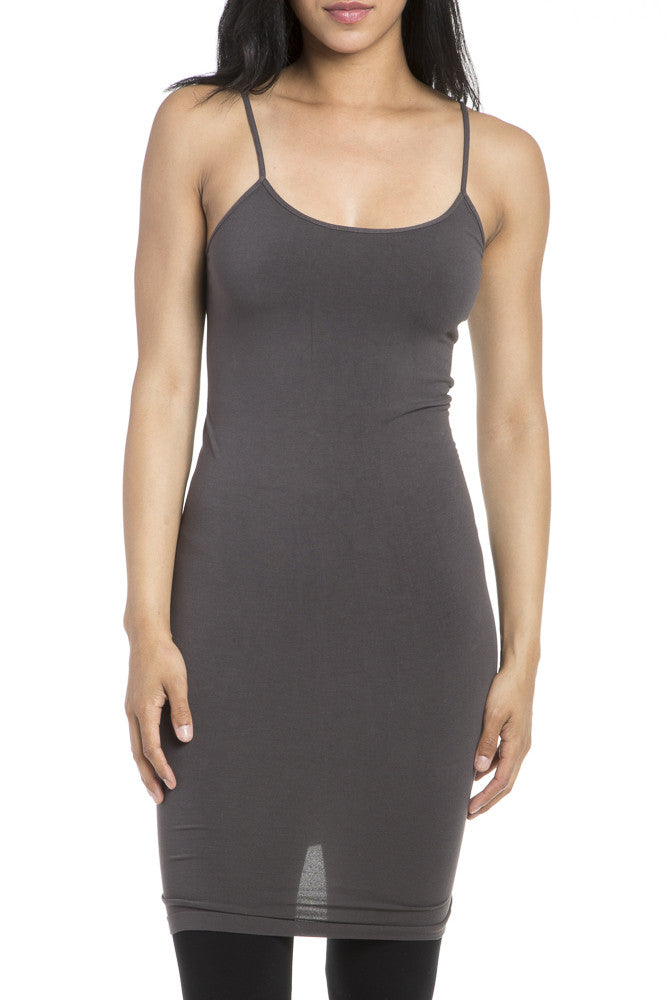 M. Rena Long Cami in Dark Grey