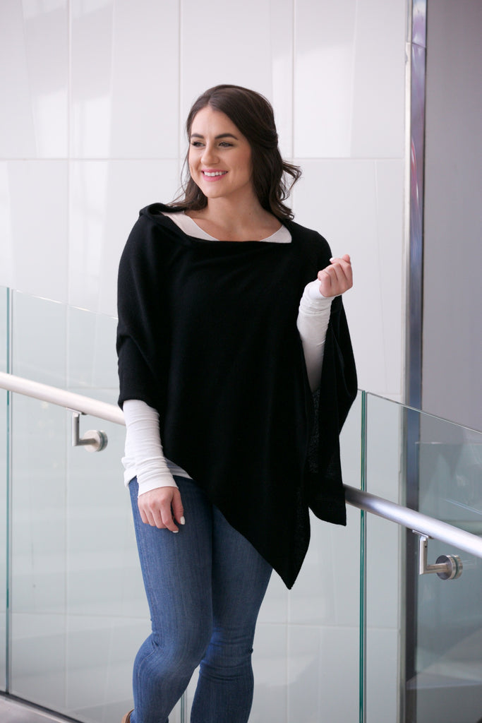 MINNIE ROSE Cashmere Ruana Poncho Black