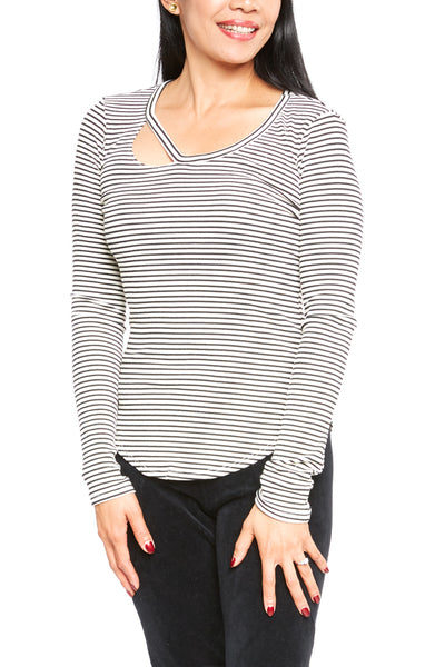 Mod Ref Everyday LS Striped Top in Charcoal/Cream