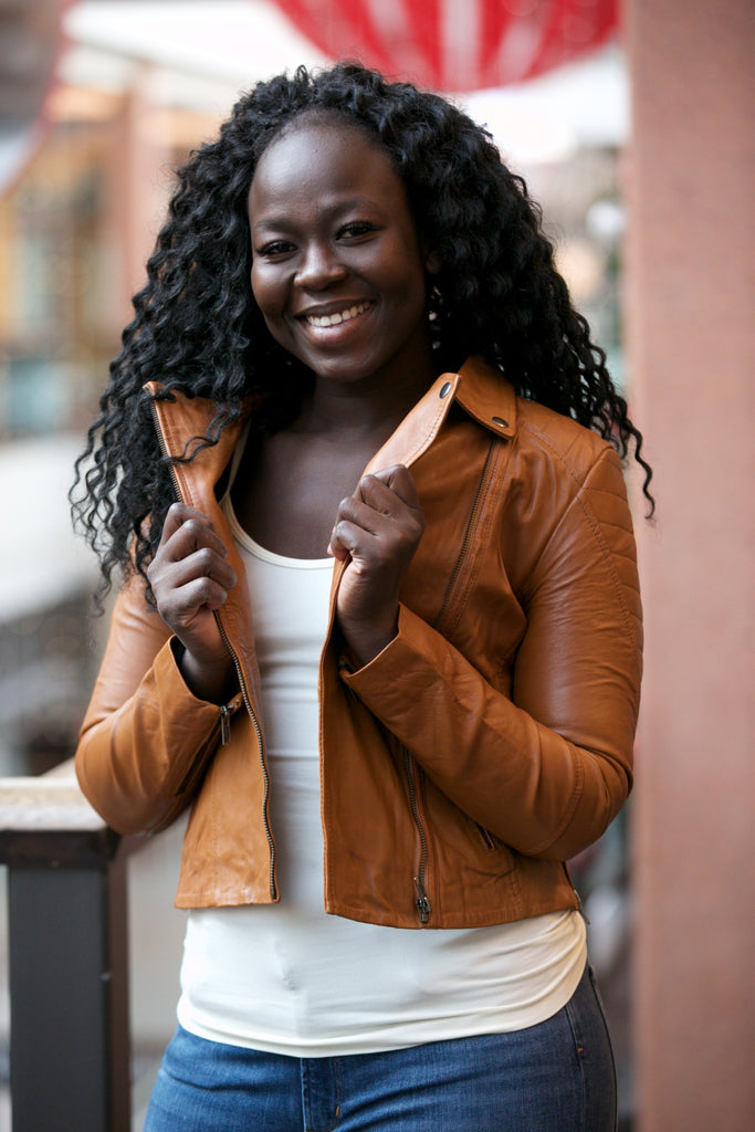 MUUBAA Indus Biker Leather Jacket Tan