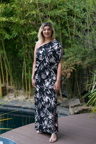 ADORN Chevron Print Smocked Waist Maxi Dress