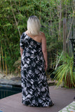 NYLAND Shadow Leaf Print One Shoulder Maxi Dress