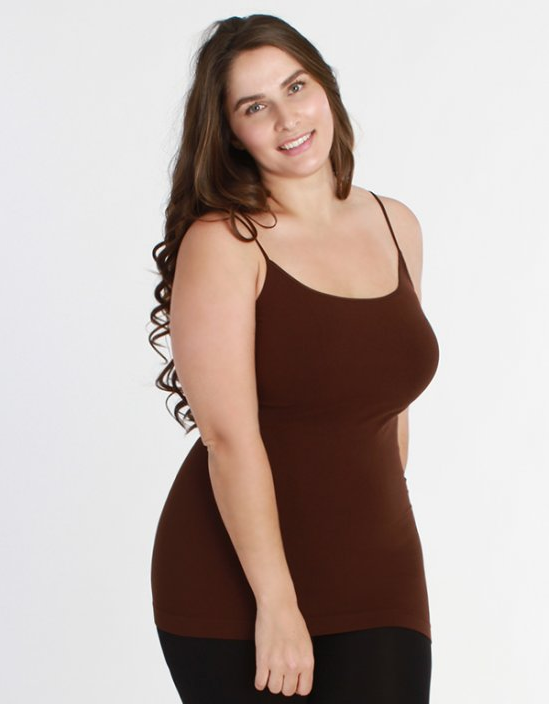 Niki Biki Plus Size Long Camisole in Dark Brown