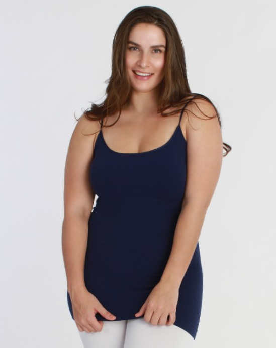 Niki Biki Plus Size Long Camisole in Navy