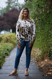 NYLAND Animal Print Distressed Sweater