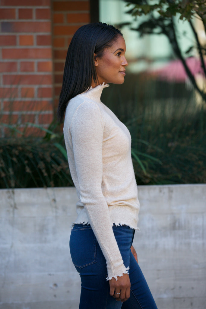 NYLAND Cashmere Blend Distressed  High Neck Sweater