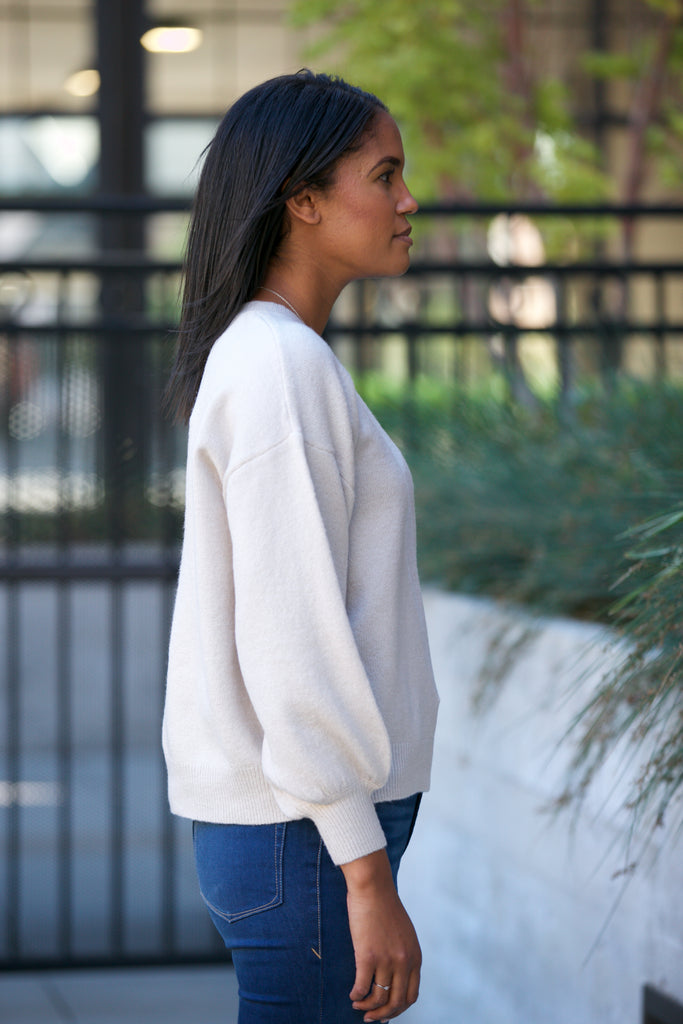 NYLAND Drop Shoulder Balloon Sleeve Sweater