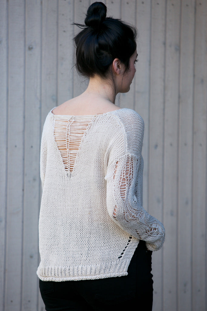 On The Road Distressed Sweater Ivory