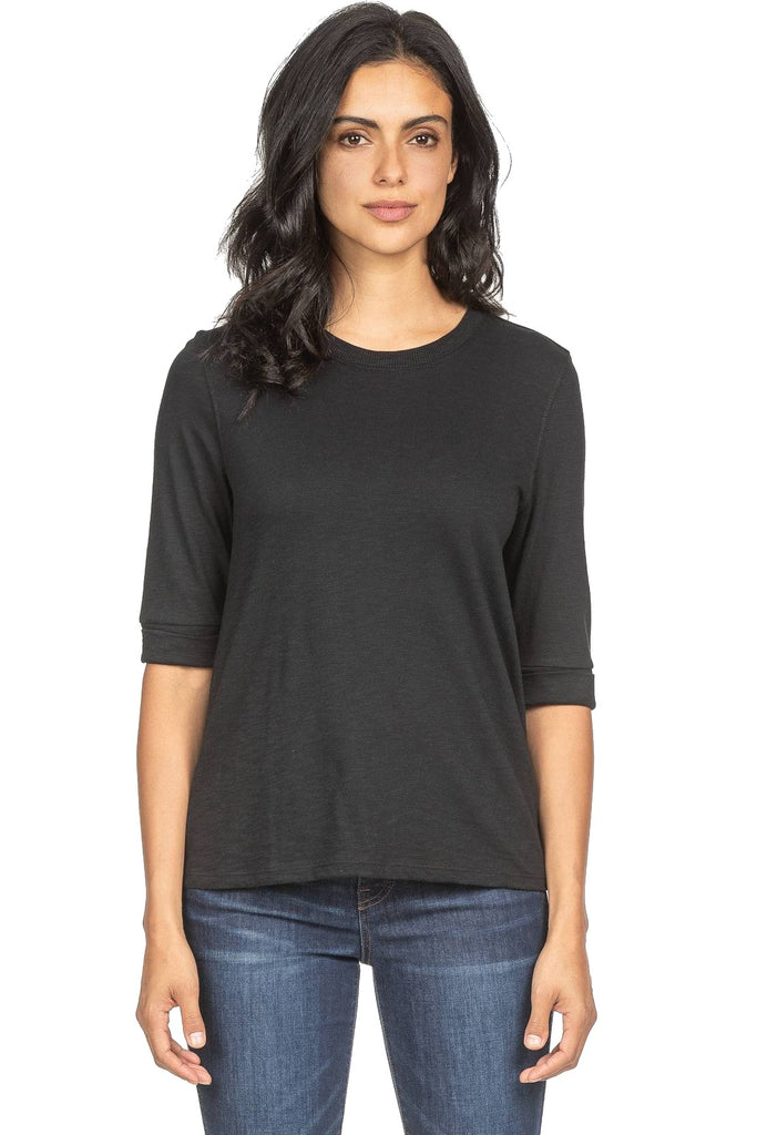 Lilla P Elbow Sleeve Crew Neck Black