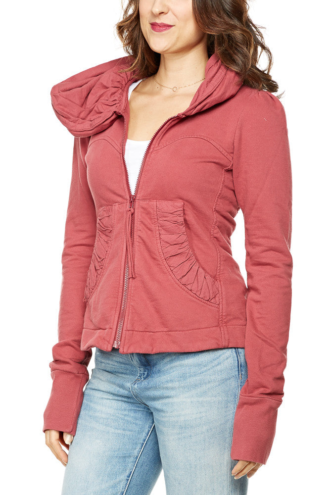 Prairie Underground Short Cloak Hoodie in Pomegranate