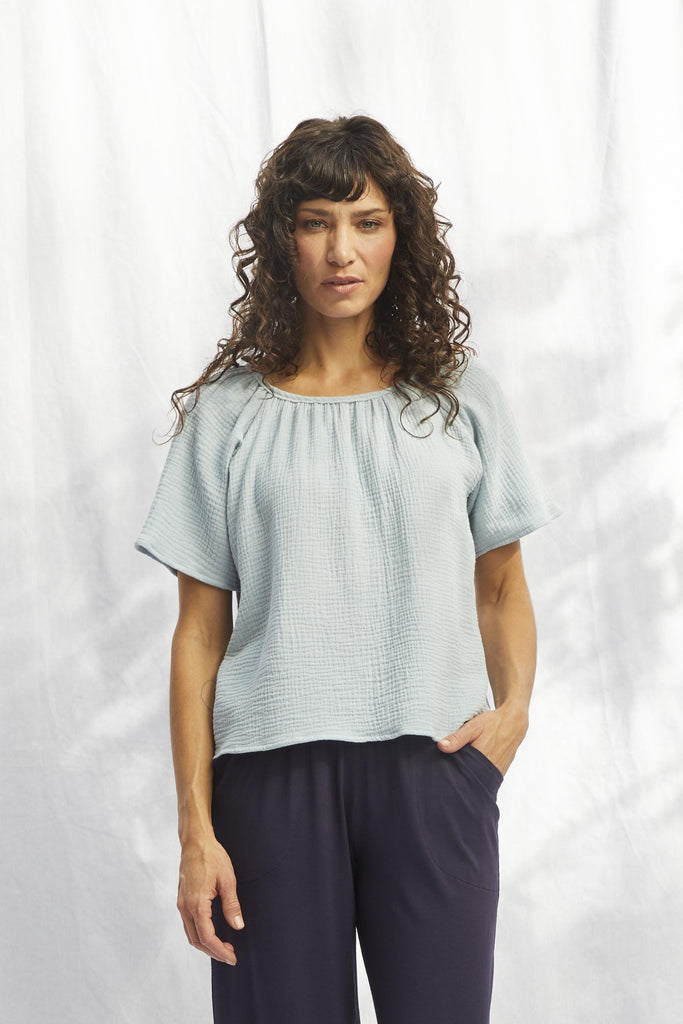 SARAH LILLER SF Petunia Top Sea Foam Gauze