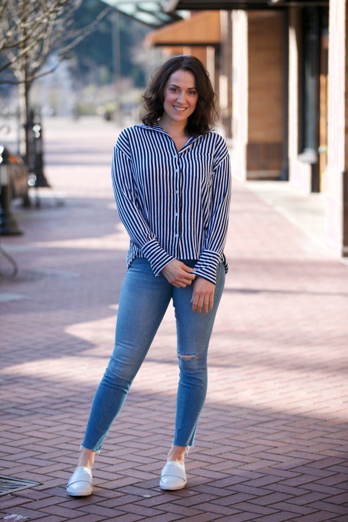 Rue Stiic Fremont Shirt Copperfield Stripe - Moroccan Blue