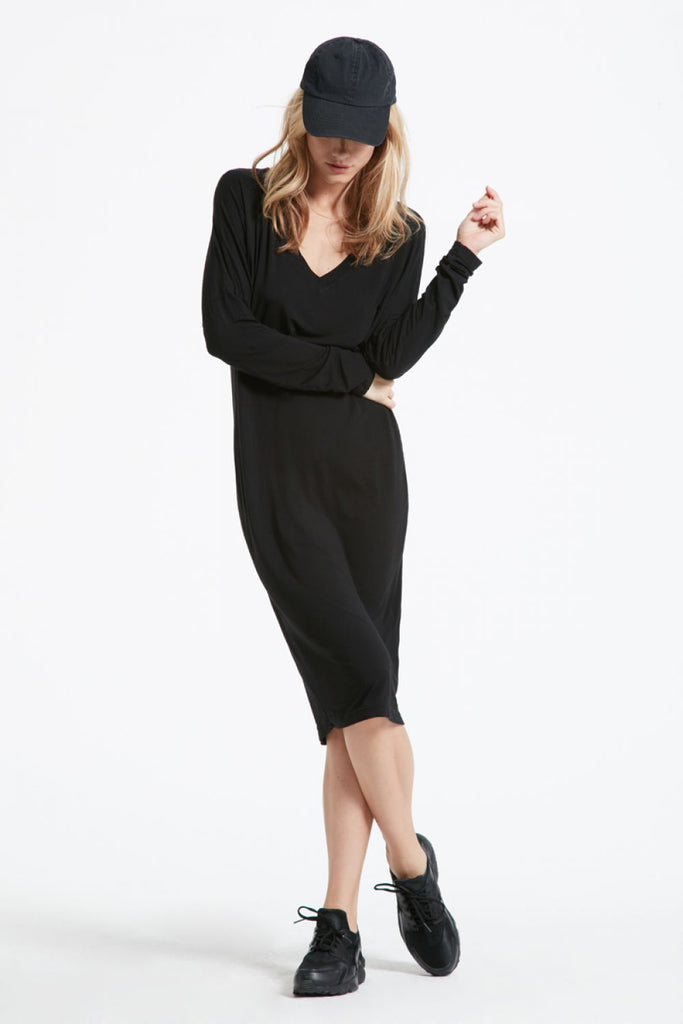 Hard Tail Long Sleeve Slouchy V-Neck Dress - Classic