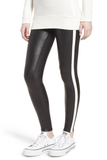 SPANX Faux Leather Stripe Legging Very Black/White