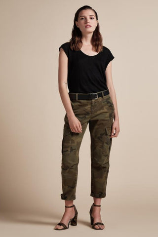 Mother Patch Pocket Private Ankle Fray in Army Green