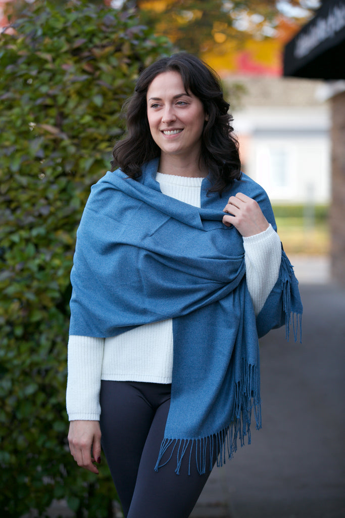 Seattle Silver Cashmere Shawl Blue