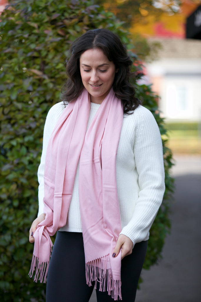 Seattle Silver Cashmere Shawl Blush