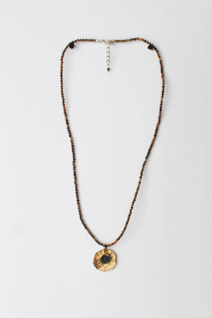 zoWEE Jewels Seed Beaded Necklace w/ Disc Tiger's Eye